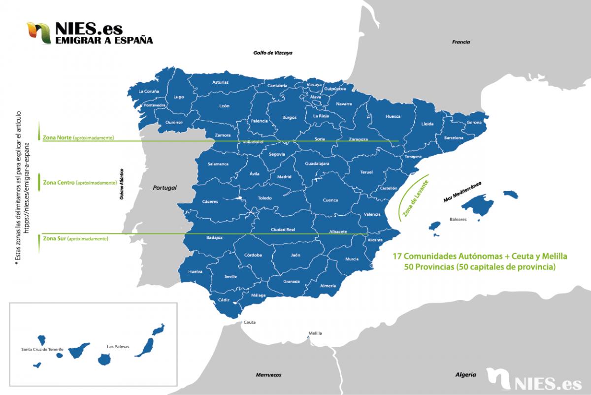 Mapa de España dividido por provincias