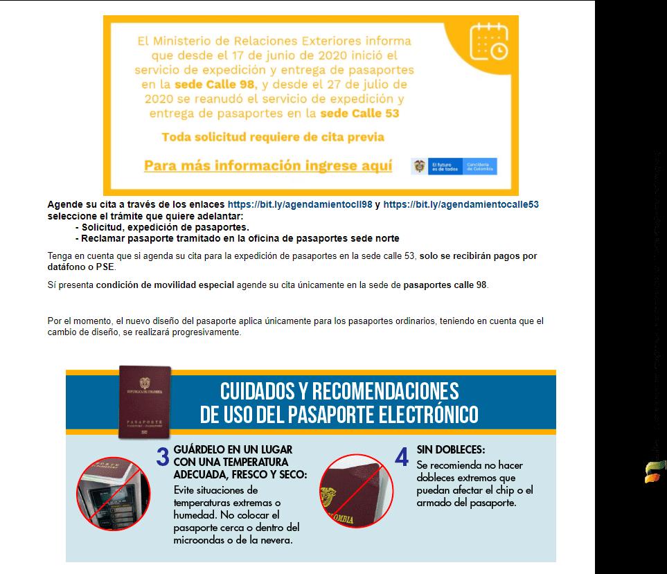 Guía pasaporte colombiano DOS