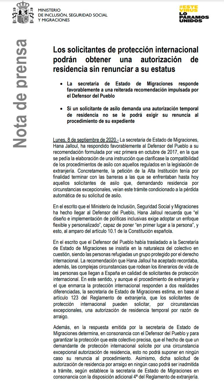 Nota de prensa de la Secretaria de Estado de Migraciones