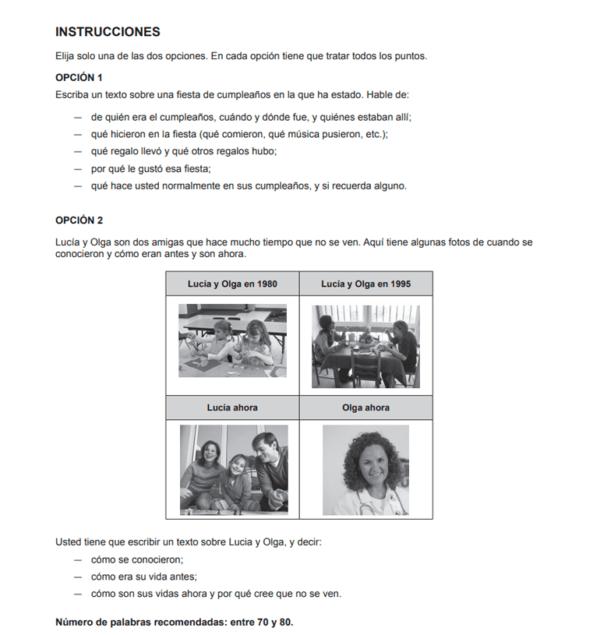 Muestra de un examen DELE A2 de Expresión e interacción escritas para la Nacionalidad Española