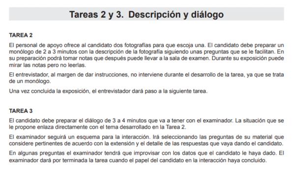 Muestra de un examen DELE A2 de expresión e interacciones orales para la Nacionalidad Española
